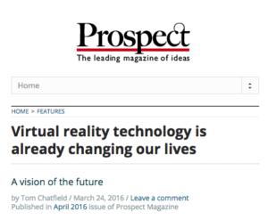 INVIVO Virtual Reality in Prospect Magazine