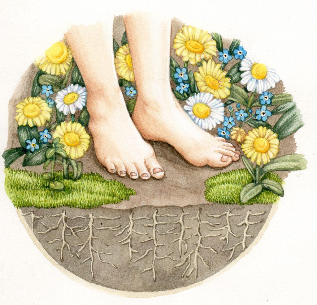 Feet int the garden original watercolour illustration for sale