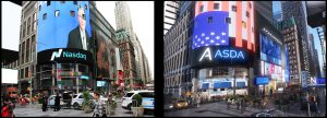 This displays 2 sperate images. The left is a photograph of a building from Time Square, and the right is the 3D modeled replica that Trinity Artist created for the city animation