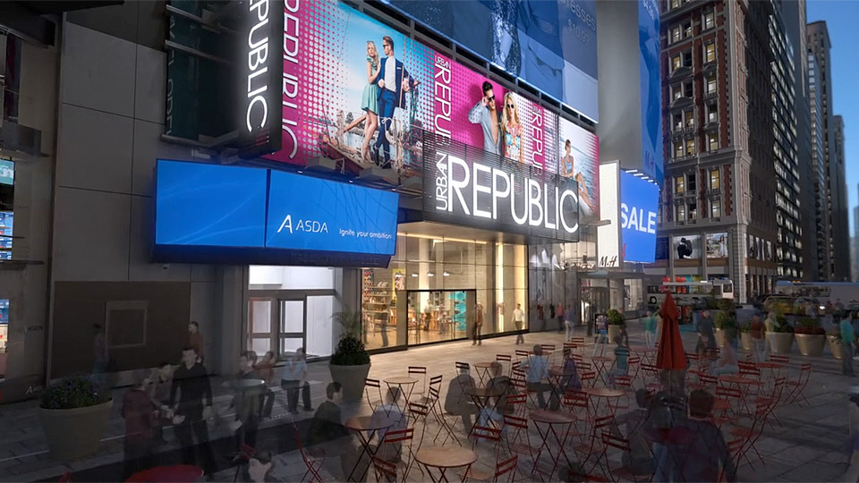 Exterior fly in of New York architectural animation in Times Square.