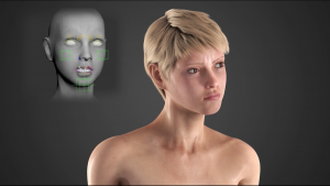 This is a 3D rendered image from the facial animation displaying the human figure in the middle of a facial expression. In the upper left-hand corner there is model that represents how the animators controlled the model from different regions of the face such as the cheeks, moth, and eyebrows.