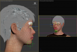 This is a 3D rendered image from our software that the Trinity animators would see while working on the project. On the left is a profile view of the figure and on the right is a front view of the model displaying how the face can be controlled from different perspectives to get the correct movement for the facial animation.