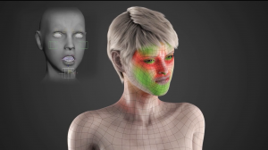 This is a 3D rendered image of the model from the facial animation in the middle of an intense facial expression. There are red and green colors on the face of the model indicating where the tension is in the face and where the wrinkles would occur. In the upper left hand corner there is another 3d model of a face which displays an example of what the animators would see while controlling the face