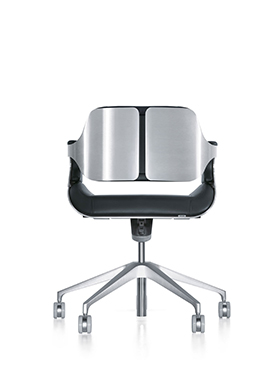 This image displays a 3D model of the low back version of the Silver office chair rendering