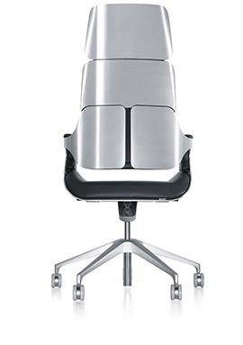This image displays a 3D model of the high back version of the Silver office chair rendering
