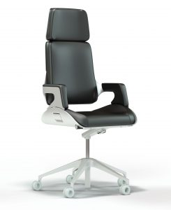 This image displays a 3D model of the Interstuhl Silver office chair rendering displayed against a stark white background. All textures are realistically rendered