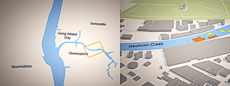 The public relations animation startes with a 3d animated map to show where the project takes place.