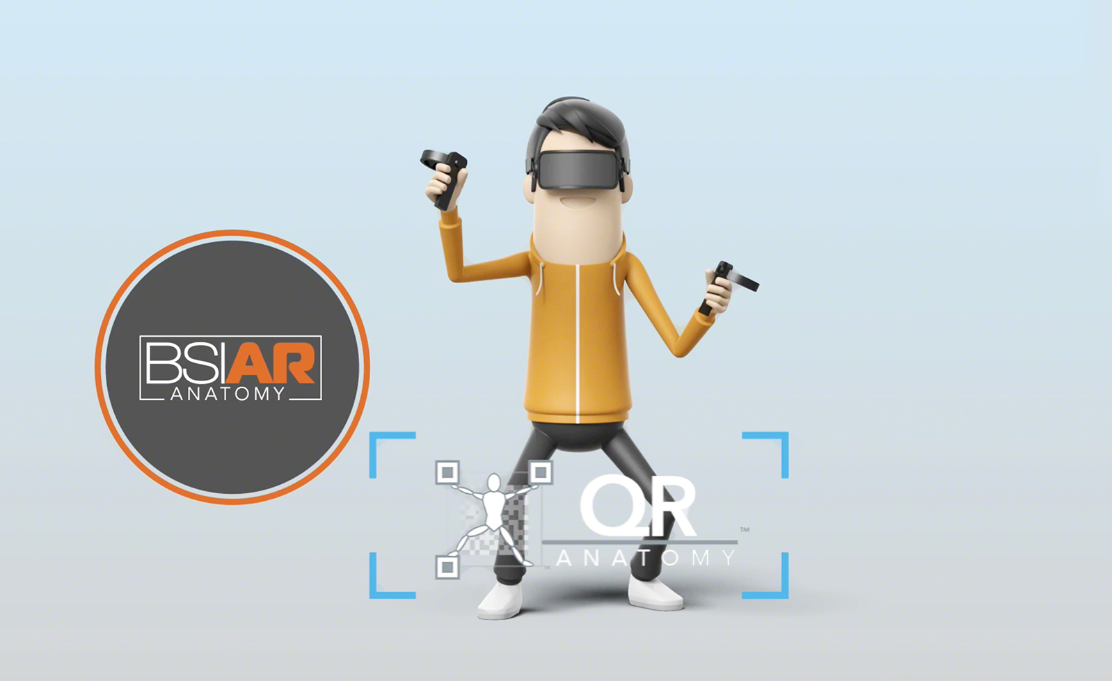 3D animation of a man with a VR headset